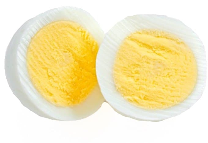 A cross-section of a hard-boiled egg