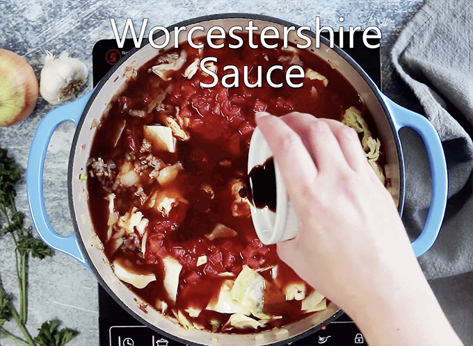 Worcestershire Sauce enhances stuffed cabbage soup.