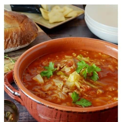 Cabbage Soup from Platter Talk is a fast and easy cabbage roll soup recipe that can be made in under an hour. Make a big batch and freeze the leftovers!