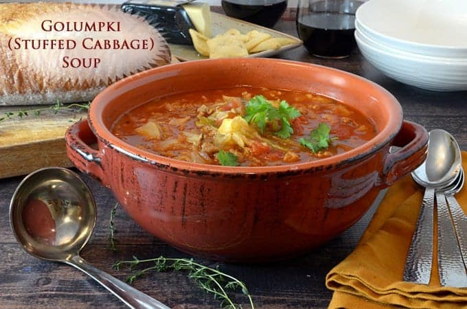 Stuffed cabbage soup is similar to a golumpki recipe.