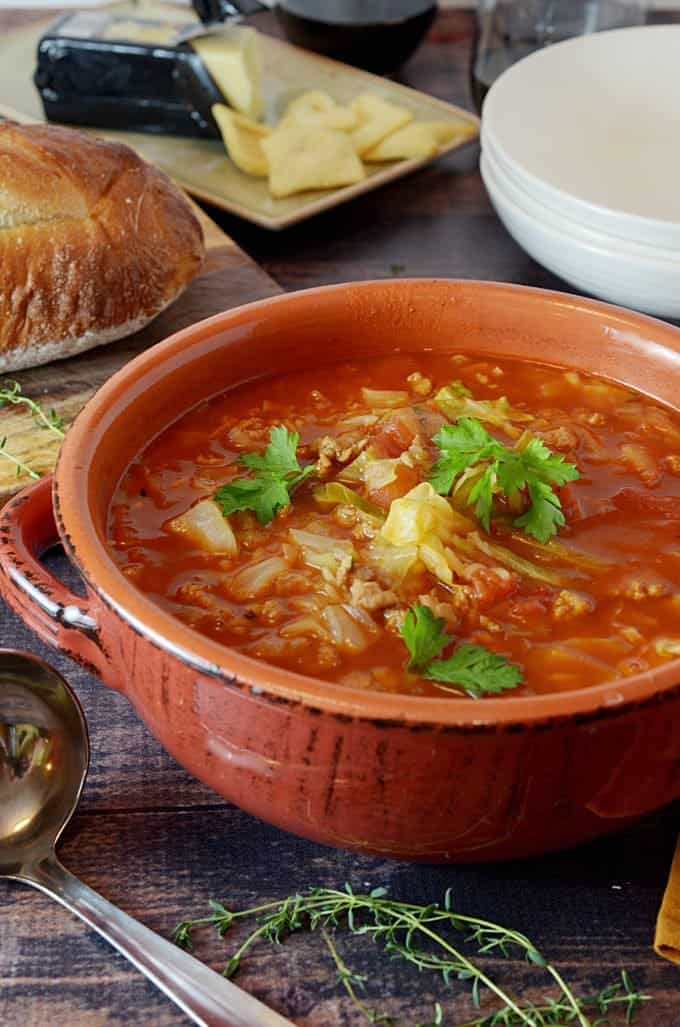 Stuffed Cabbage Soup is also called golumpki soup/