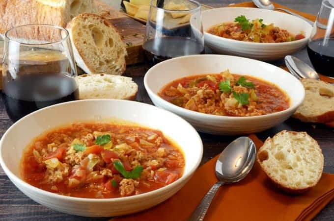 Cabbage Roll Soup with bread from Platter Talk.