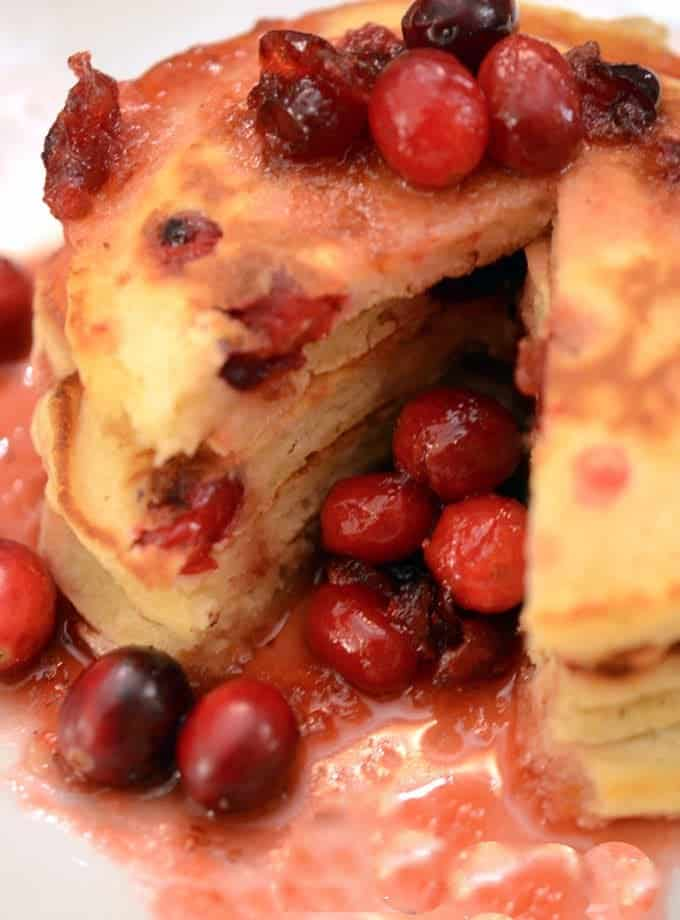 Cranberry-Orange Pancakes with Cranberry Infused Maple Syrup