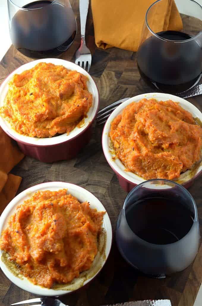 Recipe for Shepherds Pie, featuring butterut squsah and sweet potatoes