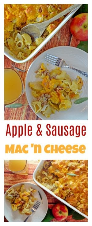 This Apple and Sausage Mac and Cheese offers the comforting tastes of fall, in a savory casserole.