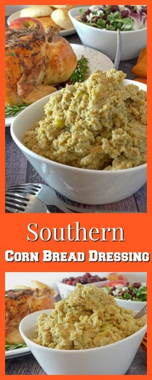 Southern Cornbread Dressing Recipe, features cornbread as well as biscuits, chicken broth, and lots of sage.