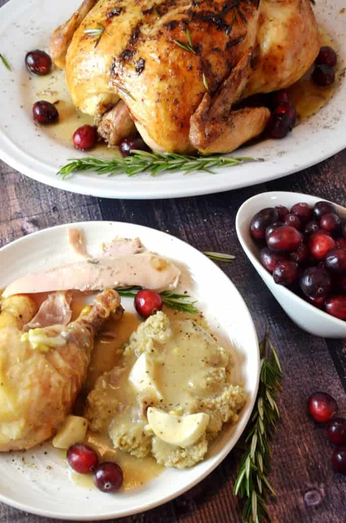 old-fashioned giblet gravy with chicken and mashed potatoes.