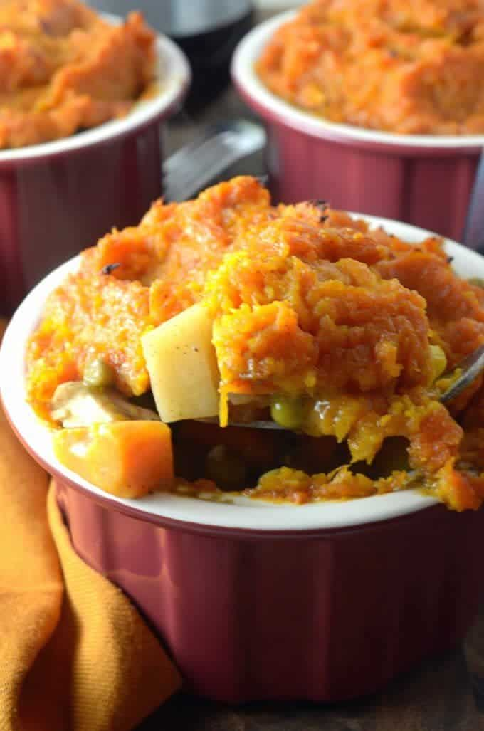 Recipe for Sheperds Pie, featuring butterut squsah and sweet potatoes