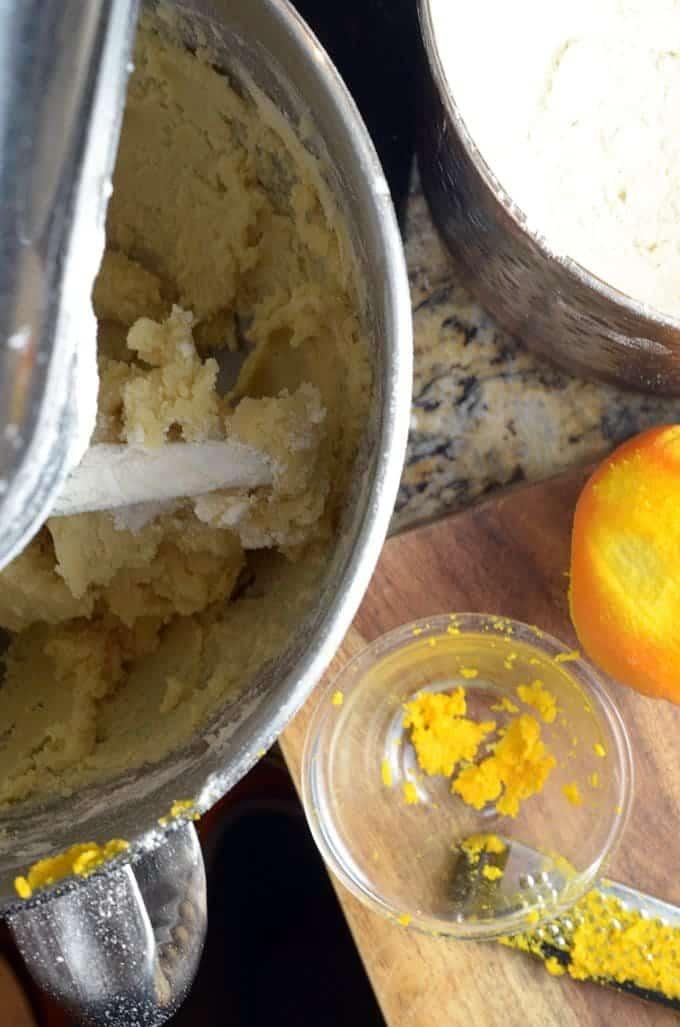 orange snowball cookie dough mixing