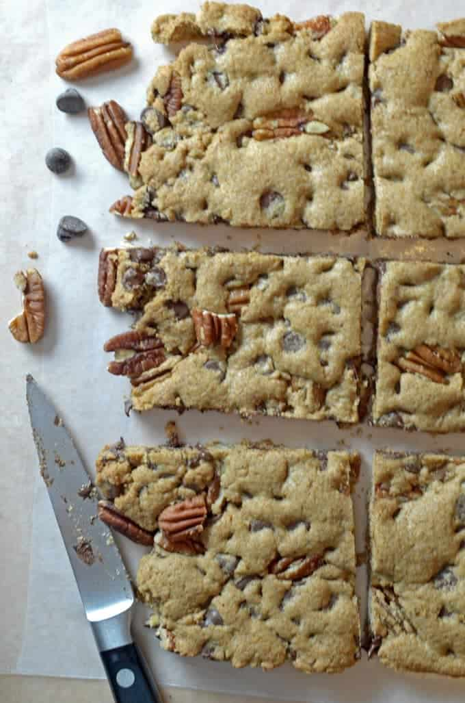 A bunch of cookie bars cut into squares