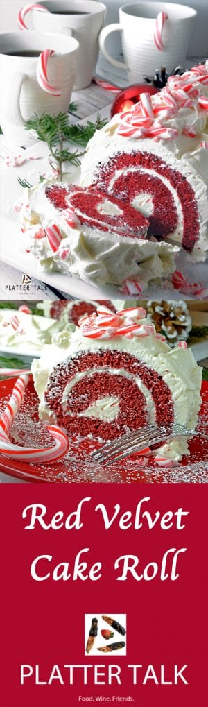 Red Velvet Cake Roll with Chocolate & Peppermint Buttercream Frosting
