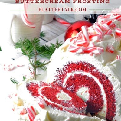 Red Velvet Cake Roll with Chocolate & Peppermint Butter Cream Frosting