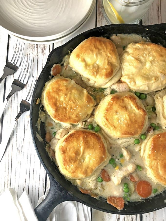 Chicken Skillet Biscuit Pot Pie - One Dish Family Dinner ...