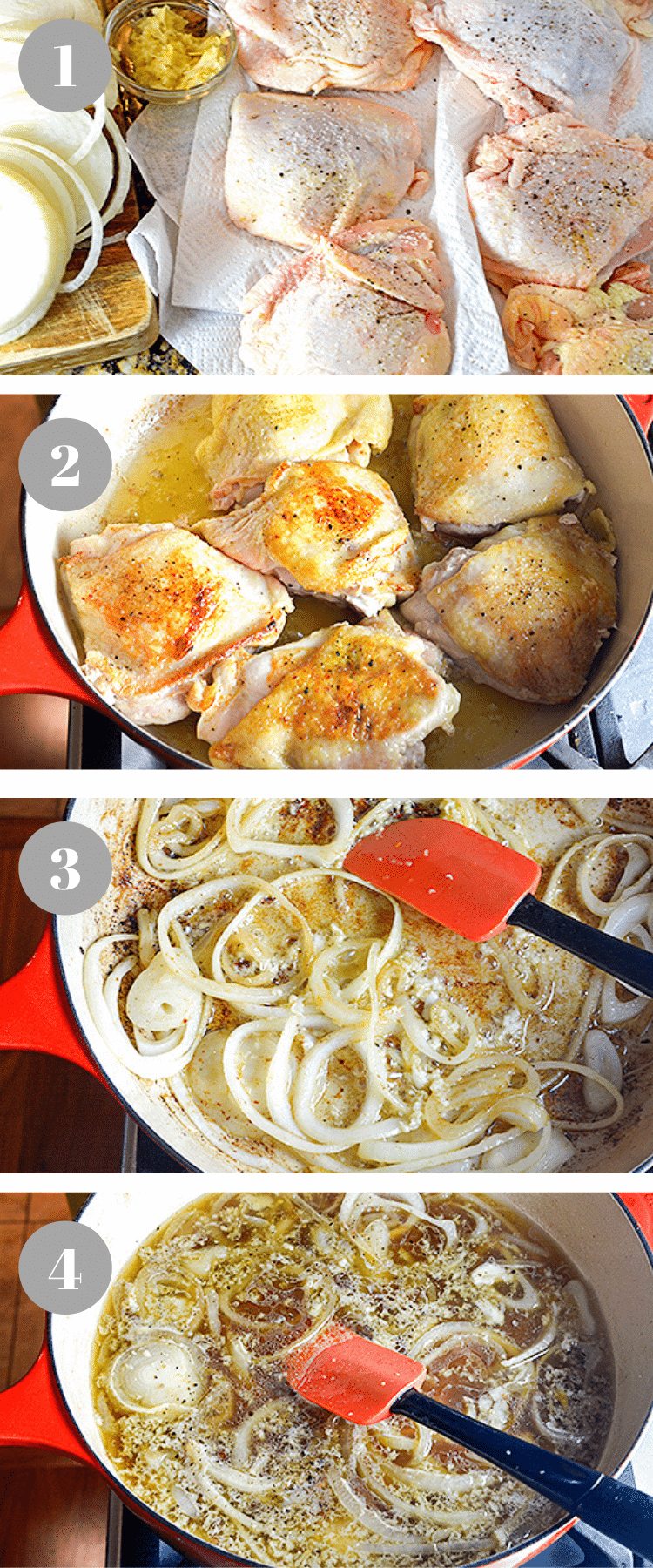 Patting chicken thighs dry, sauteeing onionsm and then searing the chicken in a pan,.,