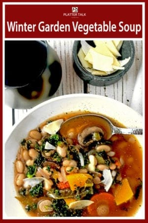 This winter soup uses a mixture of fresh ingredients and herbs along with butternut sqush and hearty great northern beans. The reuslt is a warm and savory winter garden in a bowl, perfect for friendships that will last throughout all seasons! #healthy #recipes #butternutsquash #roasted #crockpot #comfortfood #veggies #meals