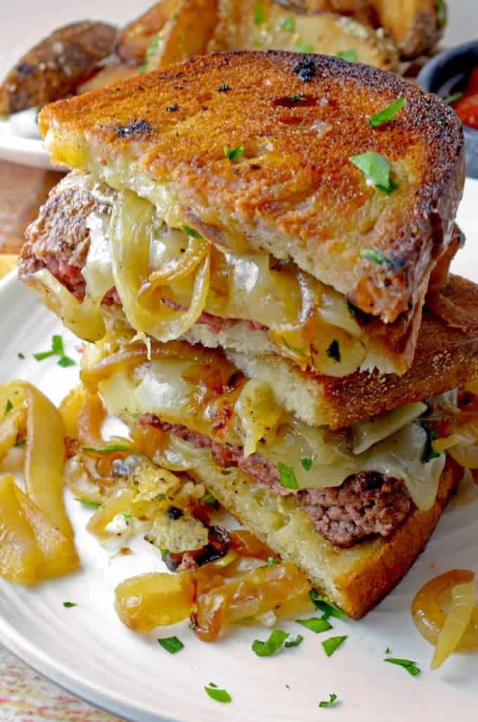 Patty Melt stacked on a plate.