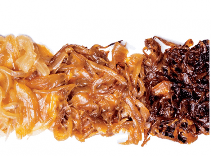 Close up of 2 shades of caramelized onion laid out side by side