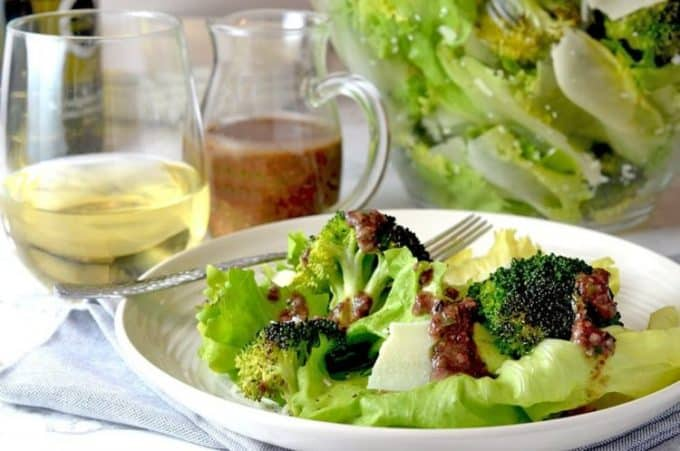 Escarole Salad Recipe made with Escarole, Roasted Broccoli with Tapenade Dressing