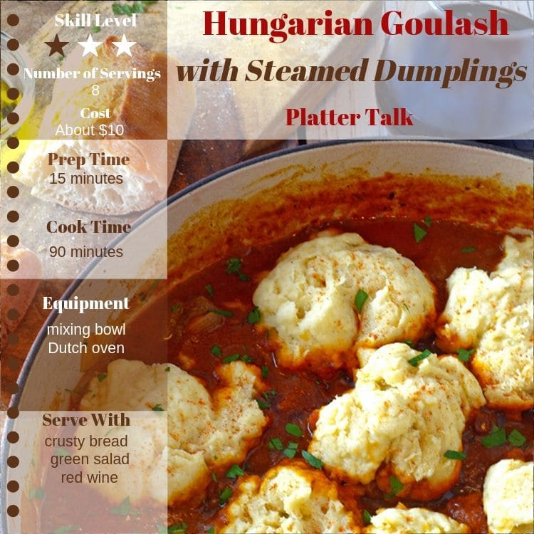 Photo of hungarain goulash with recipe information.