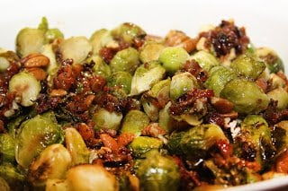 Brussels sprouts with maple glazed pecans, bacon