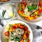 Three bowls of succotash recipe with chicken breasts.