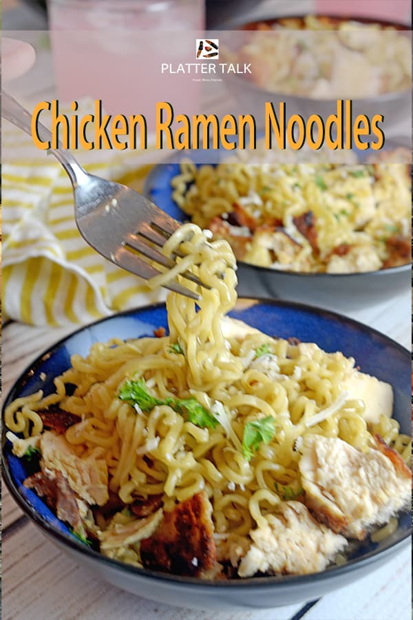 Forkfull of chicken ramen noodles,