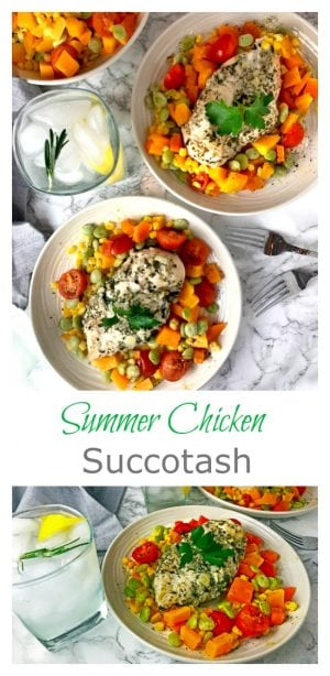 Summer Chicken Succotash is a budget friendly meal that is full of protein, fiber, and flavor. This meal is easy to make and can be put together in under 30 minutes!