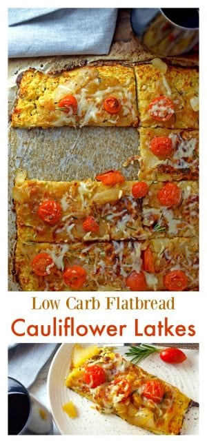 This recipe for cauliflower latkes is easily converted into a low carb flatbread. Either way, it's a delicous and grainless alternative to these traditional foods.