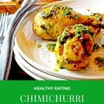 Chicken chimichurri on a white plate