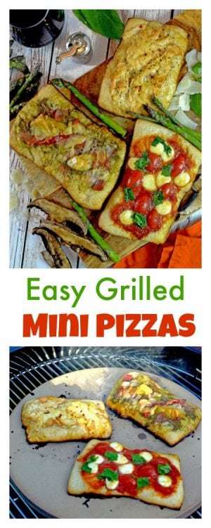 These mini grilled pizza recies can be made using your favorite topping, all on your favorite grill! Make the most ofr outdoor living this summer with this fun and delicious food idea.