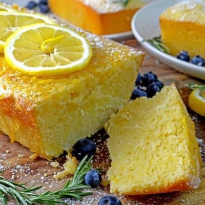 Lemon Loaf Cake with Rosemary Infused Lemon Icing