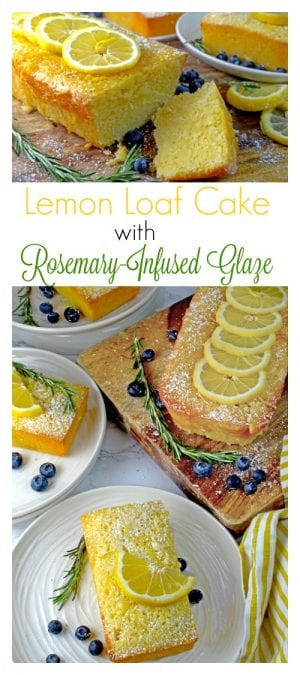 This Lemon Loaf Cake Recipe features the juice and zest of fresh lemons topped with a rosemary-infused lemon glaze for a sheer magical tasting dessert that is irresistible.