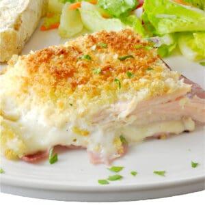 A serving chicken cordon bleu casserole