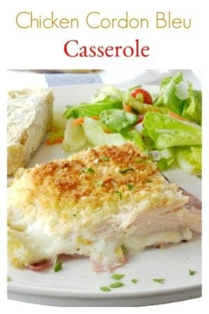 Chicken Cordon Bleu Casserole from Platter Talk features a ranch dressing sauce and just five ingredients! Make this family favorite in under an hour.