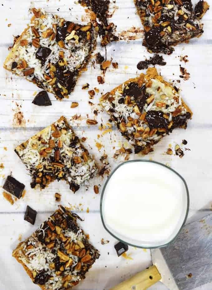 Cold milk is perfect to help wash down this magic cookie bars recipe.