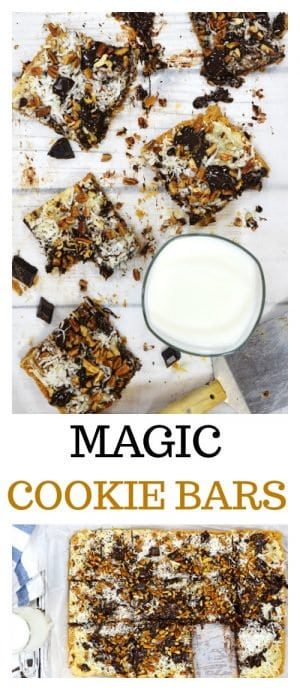 This Magic Cookie Bars Recipe is the perfect dessert treat for family reunioins, bridal and baby showers, church socials, and school and work functions.