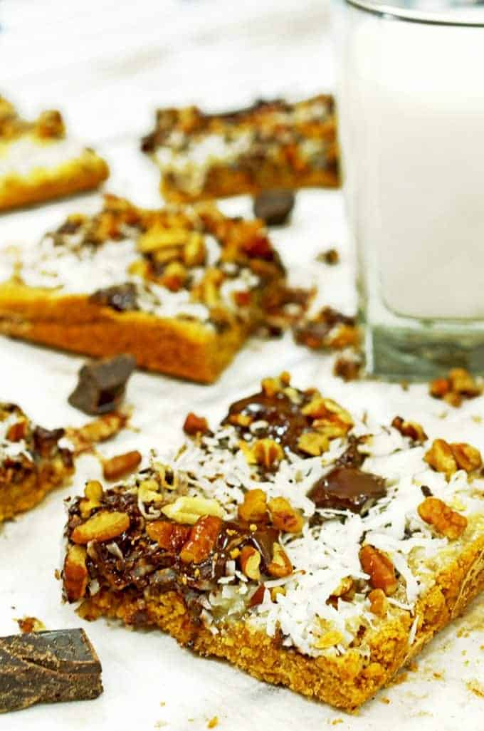this magic cookie bars recipe is great for bake sales.