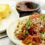 Serving of the best easy lasaga recipe.