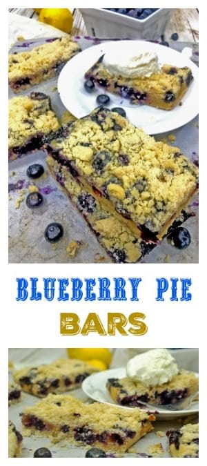 Blueberry Pie Bars are a simple and delicious alternative to making a blueberry pie. Celebrate the tastes of summer with this wonderful dessert treat. Hint: Be sure and have plenty of vanilla ice cream on hand!