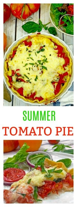 This Summer Tomato Pie Recipe features all the best of Summer. Light, easy, and full of summer flavor, this is one recipe you need to make today!