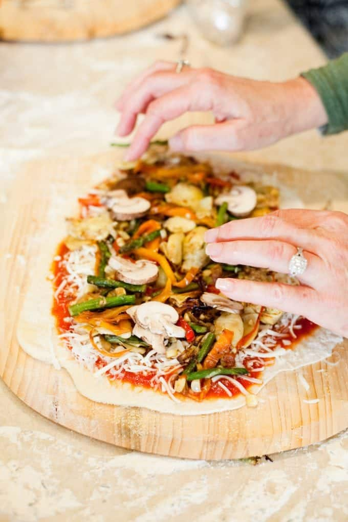Homemade Grilled Veggie Pizza for end of summer pizza part.