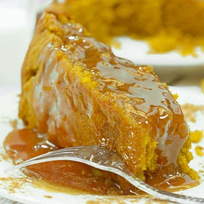 Serving of slow cooker pumpkin cake