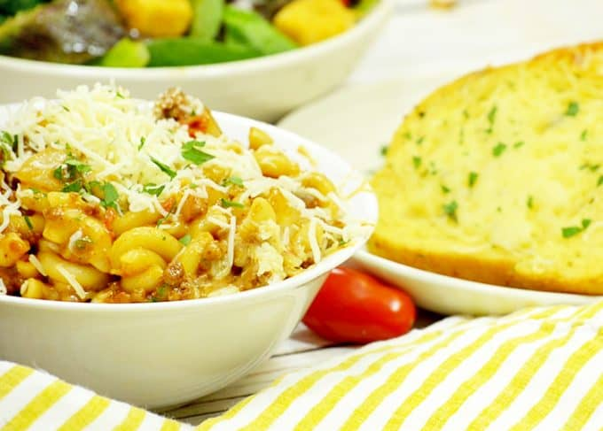 Sloppy Joe Mac and Cheese Recipe tastes great with garlic bread.