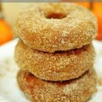 Stack of sugar-coated pumpkin donuts