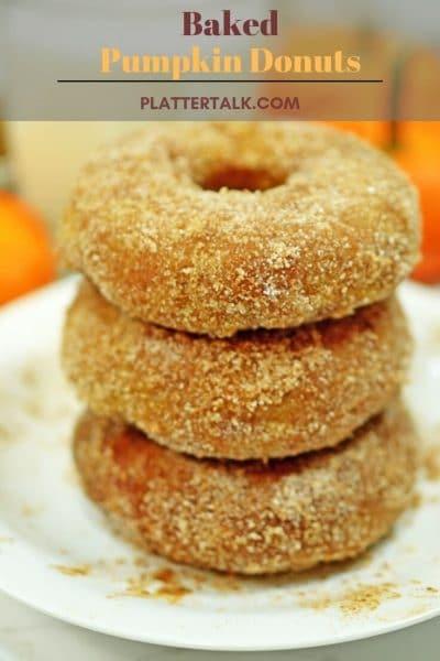 Stack of sugar-coated pumpkin donuts