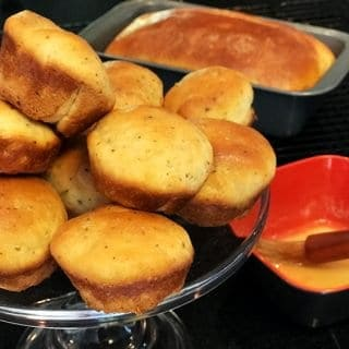 Muffins in pan and on serving platter