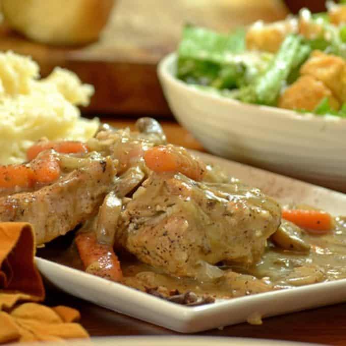 Platter of Savory Pork Chops with mashed potatoes Sq