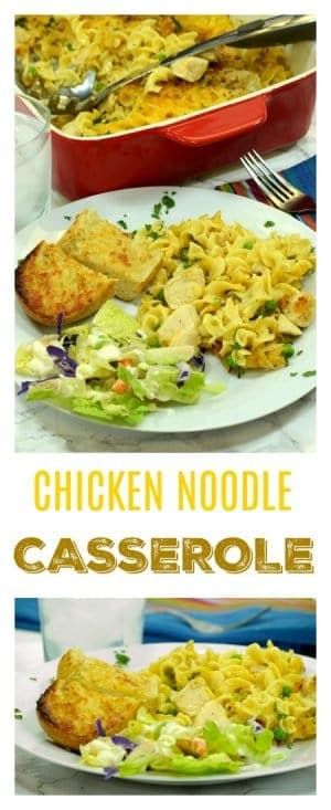 This recipe for chicken noodle casserole is the perfect meal solution for busy parents who have a table full of hungry kids to feed at the end of a long day of work.