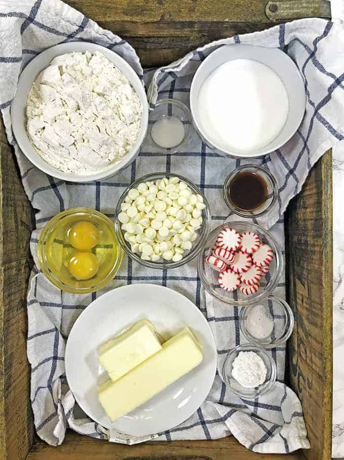 Ingredients for white chocolate peppermint cookies on Platter Talk