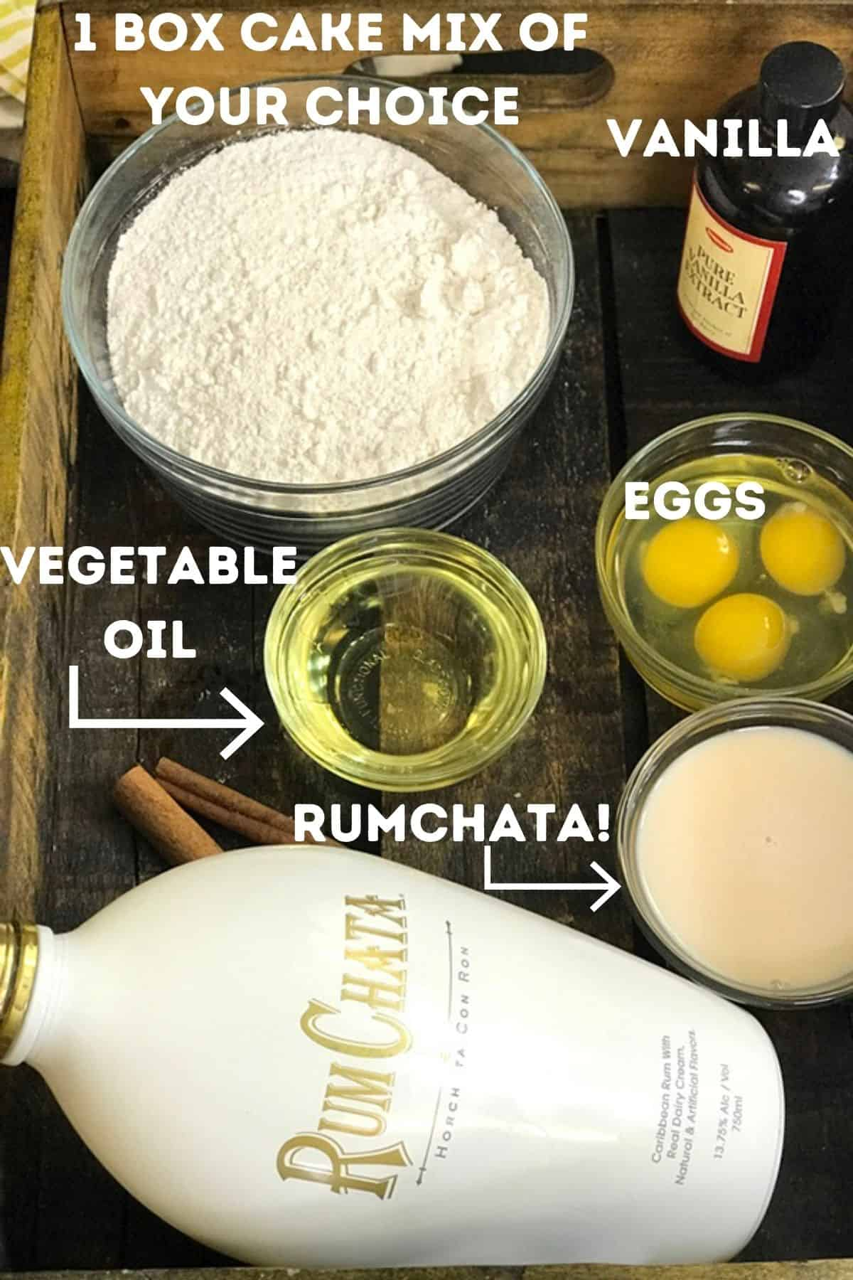 RumChata and other ingredients for cupcakes